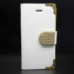Luxury Leather Bling Wallet Magnetic Flip Case for iPhone® 5S White