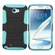 Turquoise Black Rubberized Holster Case Cover For Samsung Galaxy Note 2