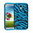 Blue Black Zebra Hybrid Case Cover For Samsung Galaxy S4