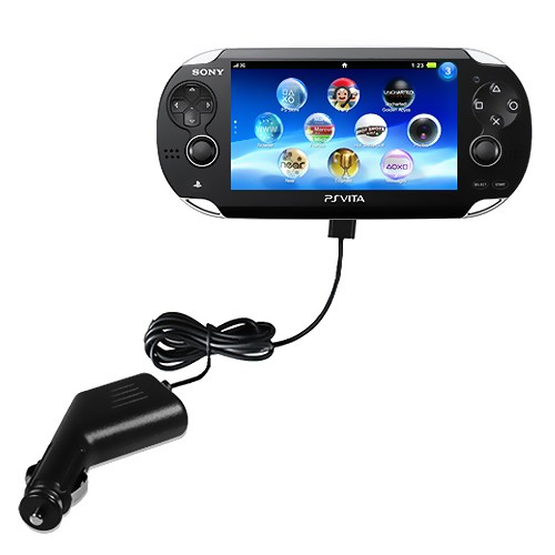 black car charger with attached cable for Sony® ps vita