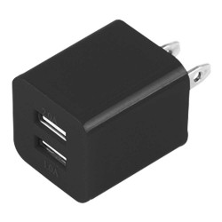 Dual USB 2 Port Wall Charger AC Adapter for iPhone® 5 5S Black