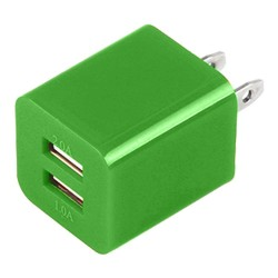 Dual USB 2 Port Wall Charger AC Adapter for iPhone® 5 5S Green