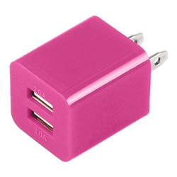 Dual USB 2 Port Wall Charger AC Adapter for iPhone® 5 5S Hot Pink