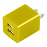 Dual USB 2 Port Wall Charger AC Adapter for iPhone® 5 5S Yellow