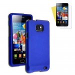 blue rubberized hard case cover for SAMSUNG Galaxy S© 2 with screen protector