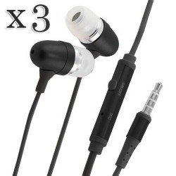 pack of 3 black earphone headphone w/ mic for all smartphones