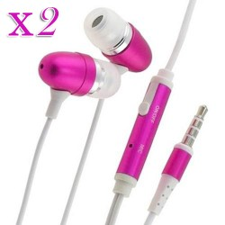 pack of 2 pink in earphone w/ mic for Apple iPhone® 5 5s smartphones