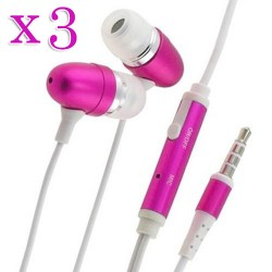 pack of 3 pink in ear earphone w/ mic for Apple iPhone® 5 5s smartphones pink