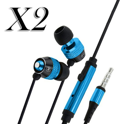 pack of 2 ear earphone w/ mic for apple iphone® 5 5s smartphones  blue black