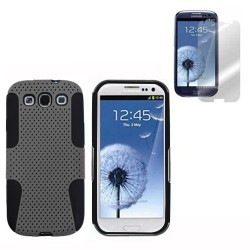 black grey rubberized hard case cover for SAMSUNG Galaxy s©3 with screen protector
