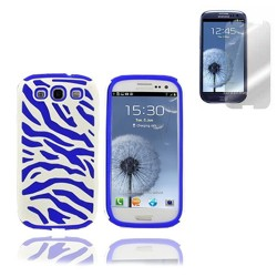 blue hybrid case cover for SAMSUNG Galaxy s©3 with screen protector