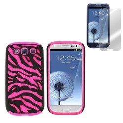 pink hybrid case cover for SAMSUNG Galaxy s© 3 with screen protector