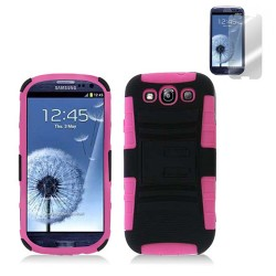 pink black holster case for SAMSUNG Galaxy s©3 with screen protector