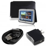 PU Leather case and USB cable wall adapter for galaxy note© 10.1 black