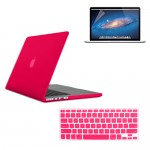 Rubberized Hard Case for Macbook Pro® 15 Retina with Screen Protector Hot Pink