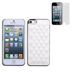 Luxury leather case for apple® iphone® 5 5s with screen protector White