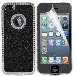 Luxury Bling hard case for apple® iphone® 5 with screen protector black