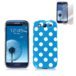 blue white hard case cover for SAMSUNG Galaxy s©3 with screen protector