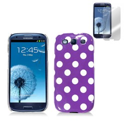 purple white hard case cover for SAMSUNG Galaxy s©3 with screen protector