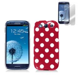 red white hard case cover for SAMSUNG Galaxy s©3 with screen protector