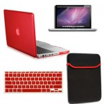 rubberized hard case cover with screen protector for MacBook pro® 13 red