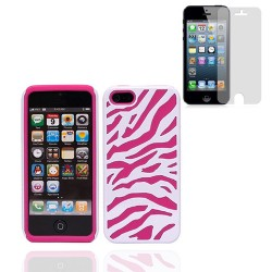 Hybrid Zebra hard case for iphone® 5 5s with screen protector Pink White