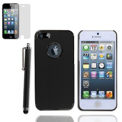 Leather hard case with screen protector for Apple® iPhone® 5 5s Black