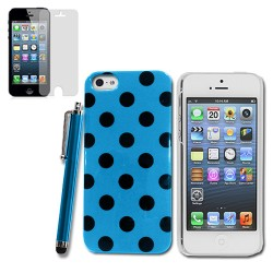 Polka Dots Case stylus with screen guard for apple® iPhone® 5 5s Blue Black