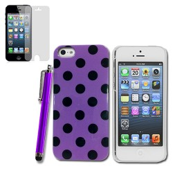Polka Dots Case for apple® iPhone® 5 5s with SP + Stylus Purple Black