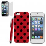 Polka Dots Case for apple® iPhone® 5 5s with SP + Stylus Red Black