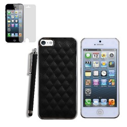 Luxury Leather Case for Apple® Iphone® 5 5s with SP + Stylus Black