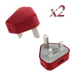 usb wall adapter charger for apple® iphone® 5 5s red UK Plug