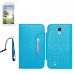 PU Leather Wallet Case With Screen Protector For Samsung Galaxy S©4 Blue