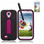 Hybrid Case With Screen Protector For Samsung Galaxy S©4 Black Pink