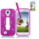 Hybrid Case With Screen Protector For Samsung Galaxy S©4 Pink White