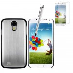 Silver Brushed Metal Hybrid Case With Screen Protector For Samsung Galaxy S©4