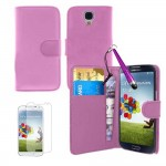 PU Leather Wallet Case With Screen Protector For Samsung Galaxy S©4 Baby Pink