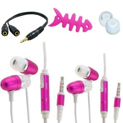 Accessory pack fish bone cable earphone for iphone® 5 5s pink