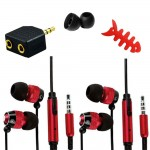 Accessory pack fish bone adapter earphone for iphone® 5 5s red