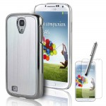 Hard Case With Screen Protector For Samsung Galaxy S©4 Silver Chrome