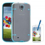 Hybrid TPU Case With Screen Protector For Samsung Galaxy S©4 Blue Clear