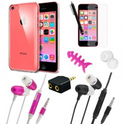 Accessory pack crystal case adapter earbuds for apple® iphone® 5c