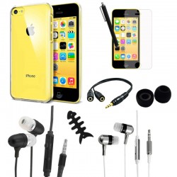Accessory pack crystal case cable earbuds for apple® iphone® 5c