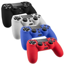Pack Of 4 Soft Skin Case For Sony® PlayStation® 4 Black Blue Red Clear