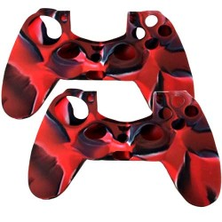 2 in 1 Pack of Silicone Case For Sony PS® 4 Controller Red