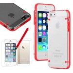 Ultra Thin Clear Crystal Hybrid Hard Case For iPhone® 5 5S Red