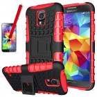 Hybrid Rugged Case Stylus with Screen Protector for Galaxy S©5 Red