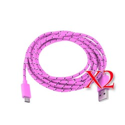 Pack of 2 Pink Micro USB Braided Cable 6 FT