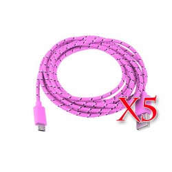 Pack of 5 Pink Micro USB Braided Cable 6 FT