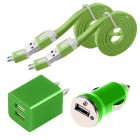 4 in 1 pack of Data Cable Charger and Adapter for Galaxy S©5 Green
